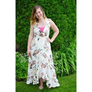 White/ Floral High-Low Wrap Dress from Leith